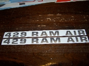 429 RAM AIR HOOD VINYL DECAL STICKER SET FOR 1971-73 MUSTANG