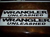 JEEP WRANGLER UNLEASHED FENDER DECALS VINYL STICKER SET OF 2