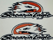 SREAMIN' EAGLE WINDSHIELD/WINDOW BANNER STICKER DECAL SET OF 2