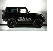 JEEP WRANGLER MOUNTAIN DECALS FULL SIDE SET OF 2 JK TJ LJ YJ CJ
