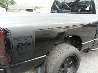 DODGE RAM BEDSIDE DECALS WITH RAM HEAD & HEMI FULL LENGTH OF BED