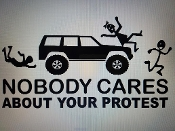 NOBODY CARES ABOUT YOUR PROTEST VINYL DECAL STICKER CHOOSE COLOR