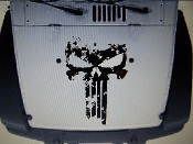 JEEP WRANGLER DISTRESSED PUNISHER SKULL HOOD DECAL JK TJ YJ CJ
