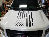 FORD F150 HOOD DISTRESSED AMERICAN FLAG VINYL DECAL 2009-2014