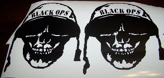 BLACK OPS SKULL DECAL SET OF 2 CALL OF DUTY