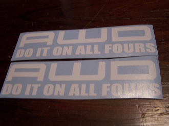 AWD DO IT ON ALL FOURS VINYL DECAL STICKER SET OF 2 CHOOSE COLOR