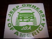 JEEP OWNERS OF AMERICA MEMBERS WJ VINYL DECAL STICKER