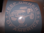 JEEP OWNERS OF AMERICA MEMBERS CJ VINYL DECAL STICKER