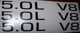 5.0L V8 HOOD SCOOP DECAL SET OF 3