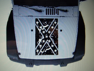 JEEP WRANGLER DISTRESSED CONFEDERATE FLAG HOOD DECAL JK TJ YJ CJ