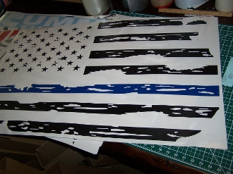 JEEP WRANGLER / CJ DISTRESSED AMERICAN FLAG BLUE LINE HOOD DECAL