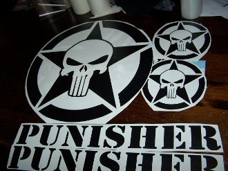 JEEP PUNISHER STAR VINYL DECAL STICKER SET FOR HOOD & FENDERS
