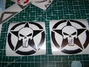 JEEP PUNISHER SKULL STAR VINYL DECAL STICKER SET OF 2