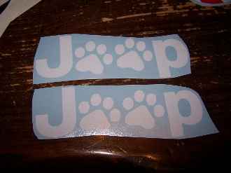 JEEP PAWS FENDER DECAL STICKER SET OF 2 WRANGLER RUBICON TJ JK