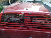 DODGE RAM REAR WINDOW DISTRESSED AMERICAN FLAG DECAL CUMMINS