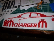 CHARGER WITH MOPAR LOGO & TEXT VINYL STICKER DECAL 2011-2014