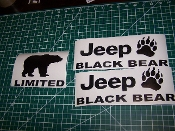 JEEP WRANGLER BLACK BEAR JK UNLIMITED VINYL DECAL SET