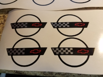 CORVETTE C4 LOGO WHEEL CENTER CAP DECAL SET OF 4 1991-1996