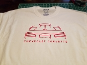 CORVETTE C4  SILHOUETTE T-SHIRT 91-96 FRONT AND BACK PRINT