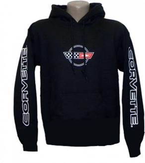 CORVETTE C4 HOODIE WITH SCRIPT ON SLEEVES AND LOGO ON FRONT