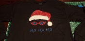 SWIMMING SANTA CHRISTMAS LONG SLEEVE SHIRT GLITTER PRINT