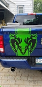 DODGE RAM TAILGATE DECAL WITH RAM HEAD
